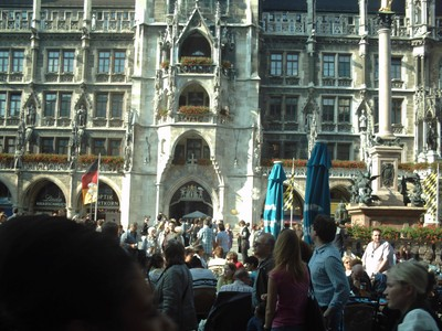 MUNICH,  GERMANY.  New  town  hall,  bottom  of  tower. , in  Marienplatz. The  main  Square.