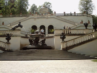 LINDERHOF,  GERMANY.  From  these  steps , a  good  view  of  fountain  and  palace.