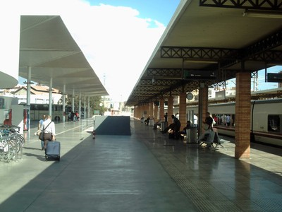 SPAIN  ALMERIA.    Intergrated travel.....Train to right and Buses to left.
