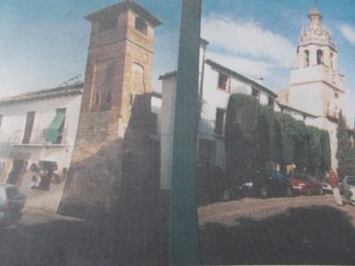 RONDA,  SPAIN.--Picture to  left, St  Sabastian. Minaret.-  To  right Santa  Maria la  Major. (Photo  of  my  photos.)