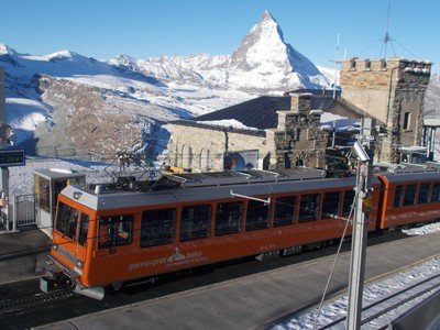 Summit of Gurnergrat Railway, looking towards the Matterhorn.