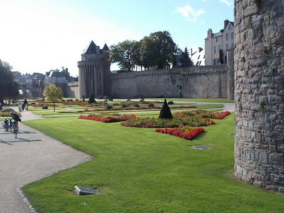 VANNES,  FRANCE.    City Wall and lovely  gardens,.
