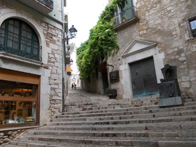 SPAIN  GIRONA...Steep steps up to Old Town and Cathedral.