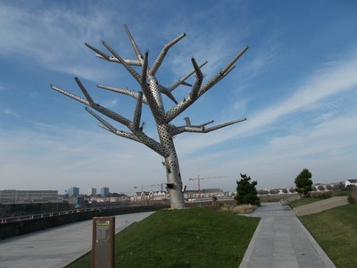 BREST,   FRANCE.. Metal tree on the side of the River Penfeld.