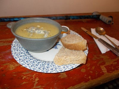 CARDIGAN WALES.  It was January so had a lovely bowl of soup with warm fresh bread.