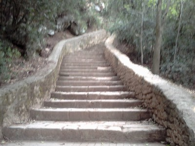 Steps up to  top of the  Aqueduct.