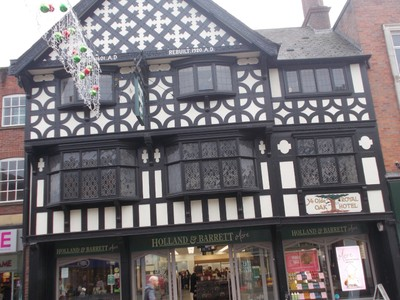 CHESTER. Black and White timber building.