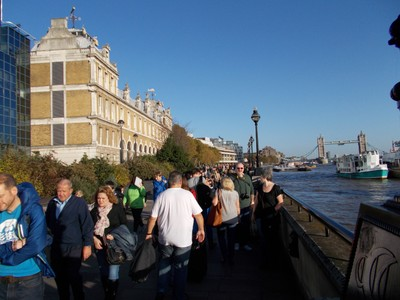 SUGAR  QUAY  WALK,  LONDON.-- Busy in November 2014, because of  event at Tower of London.