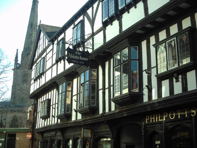 SHREWSBURY,  ENGLAND.    --  Abbots  House  from  1450.  In  Butchers  Row.