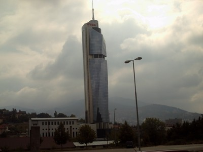 SARAJEVO.  -- Avaz  Twist  Tower. 172m  skyscraper  with  40  floors and  7  lifts.  Viewing  platform  at  top..  Building  a  Newspaper  Office,  at  the  front  of  railway  station.