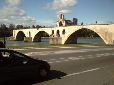 AVIGNON  FRANCE.    St  Benezet  bridge.   with  chapel  on  bridge.