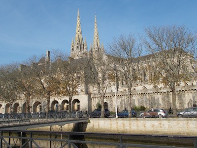 QUIMPER,, FRANCE.--- Cathedral  Spires,also footbridge over the river Odet.