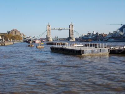 TOWER  BRIDGE,  LONDON.   HMS  Belfast on right.