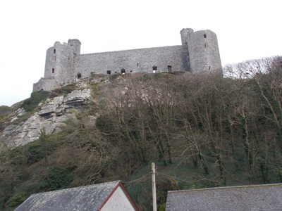 HARLECH  WALES.    Castle viewed from train station.