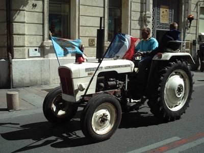 AVIGNON  FRANCE.     Farmers  parade., in Rue de la  Republique the  main  street.