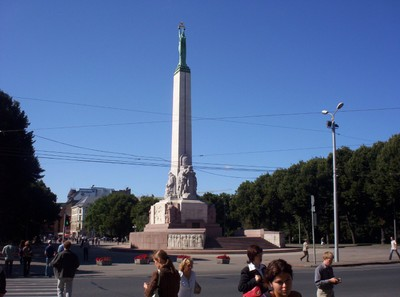 RIGA LATVIA.   Freedom Monument, honouring the soldiers killed during the Latvian War  1918 --1920.  ---- 42m  [138ft