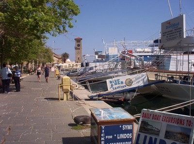 GREECE  RHODES.     Clock Tower and Boat Trips.