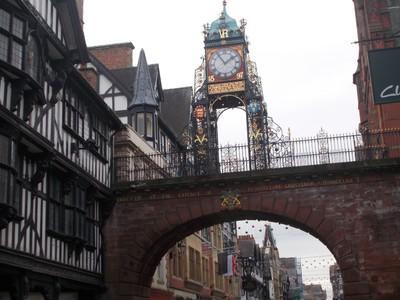 CHESTER. Eastgate clock on city wall bridge.