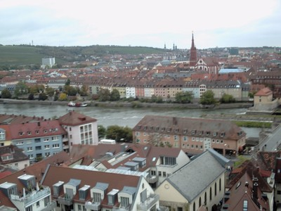 WURZBURG  GERMANY.    View from castle, with river Main.