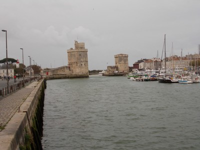 LA  ROCHELLE,  FRANCE,    On left St Nicalas  tower and on right The Chain tower.