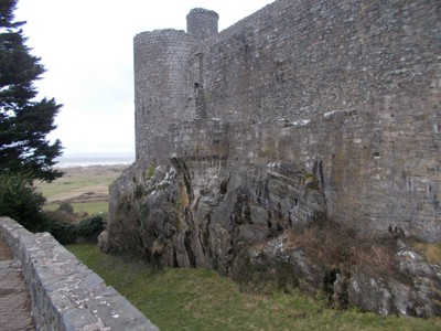 HARLECH  WALES..Castle built on rock, in the late 13 th century.
