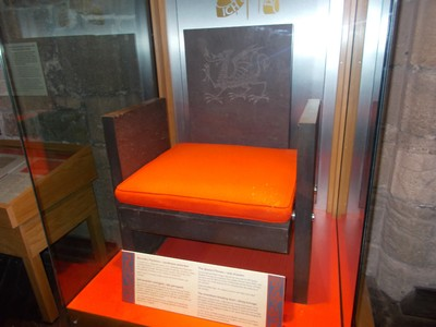 CAERNARFON  WALES UK.  Now on show in the castle museum,  the Throne that Prince Charles sat on,at his Investiture.