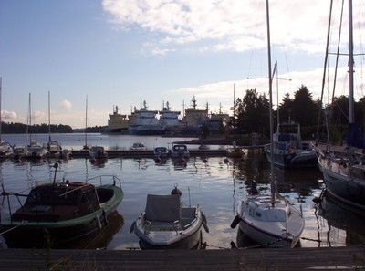 HELSINKI  FINLAND.  Icebreakers parked up , waiting for the winter.