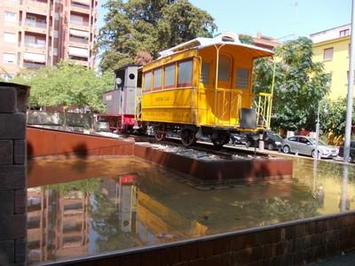 SALOU,  SPAIN. ---Historic train on  display, near the then  Salou train  station.