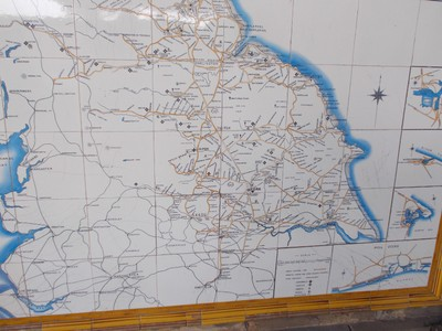 YORK RAIL  STATION.   This is a tile  map of  rail lines of years  ago.