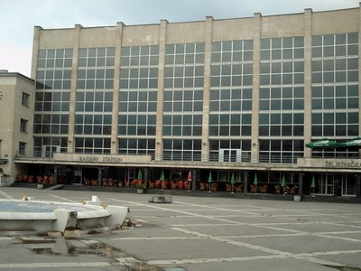 SARAJEVO,  Rail  Station  front.  Dismal  passenger  hall.