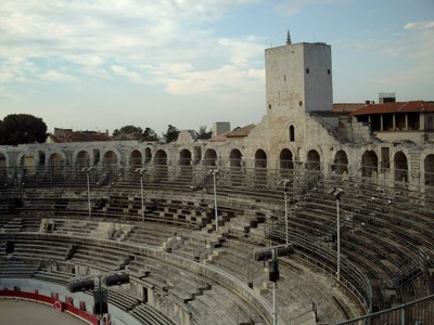 ARLES  FRANCE.   Inside  Arena..  The  tower is a  Medieval  addon.