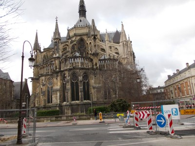 REIMS,  FRANCE,    Rear of cathedral.