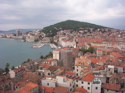 SPLIT CROATIA.   View front top of Bell Tower.of Cathedral.