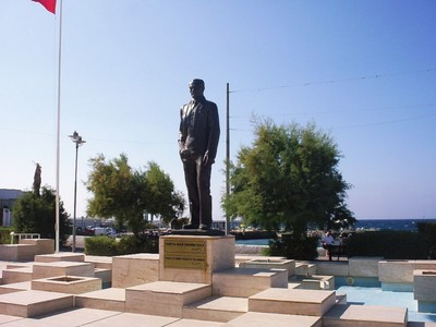 CYPRUS  KYRENIA.    Statue of Mustafa Kemal Ataturk the founder of the republic of.Turkey.. North Cyprus is a territory of Turkey.