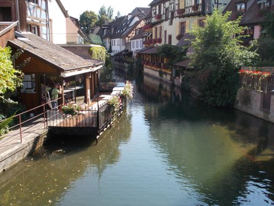 "COLMAR ,FRANCE.  ""LITTLE VENICE"" AREA On the canals of Colmar."