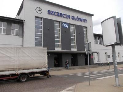 SZCZECIN  POLAND .   Glowny rail station front in April 2013.