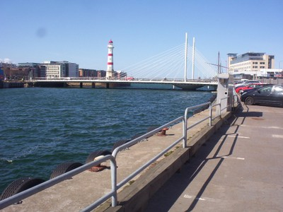 MALMO SWEDEN.  Old lighthouse and bridge.