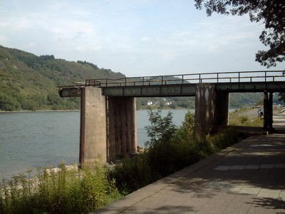 REMAGEN  GERMANY.     Remains of bridge ,   After a fierce battle between American Forces and the Nazis,  in World War Two, the bridge was destroyed.