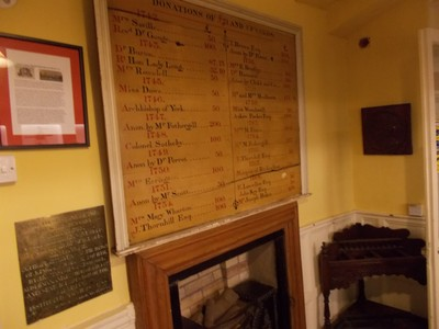 23 STONEGATE YORK .Old donations board.