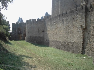 CARCASSONNE  FRANCE..  The  Ditch  of the  Citadel  Castle.