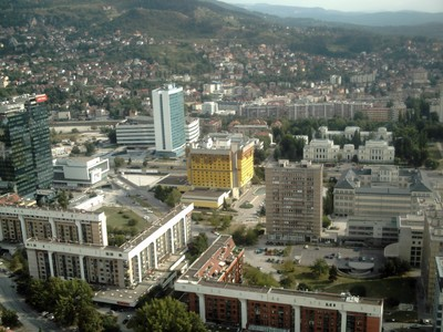 SARAJEVO.   View  from  Twist  Tower,  yellow  building  is  Holiday  Inn.