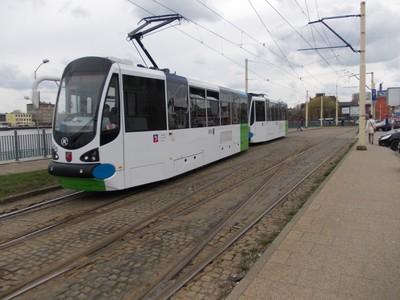 SZCZECIN  POLAND... Town Tram., at railway station.