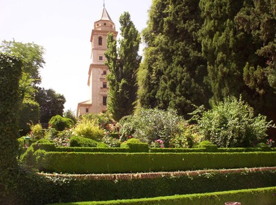 SPAIN   GRANADA.   Alhambra  Palace, grounds.