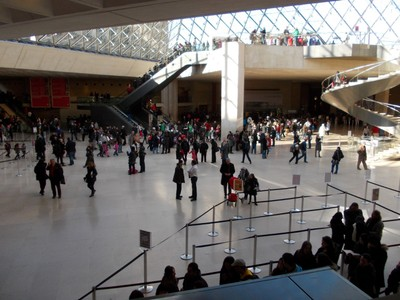 PARIS  FRANCE,  -- Inside the Glass Pyramid of Louvre  Museum.