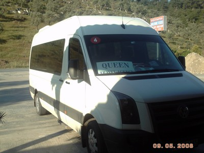 TURKEY  BODRUM.     The Mini Bus for tour to Ephesus