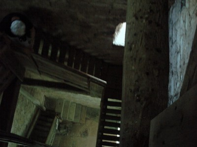 ROVINJ  CROATIA.     Wooden  stairs  up  the  tower  of  St Euphemia bell  tower.