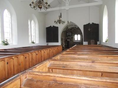 BEAMISH MUSEUM. Inside Eston Church. St Helens church originally stood in Eston near Middleborough.  Box Pews.