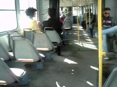 SARAJEVO.  On  board a  public  tram.