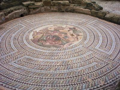 CYPRUS  PAPHOS  Roman Mosaic.in Villa archaeological site. .