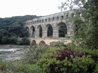 FRANCE.  PONT DU  GARD  AQUEDUCT. near the town of Vers-Pont-Du Gard.